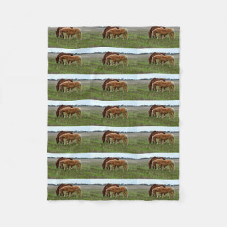 Winter Woolly Chestnut Horses, Fleece Blanket
