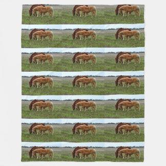 Winter Woolly Chestnut Horses, Large Fleece Blanket