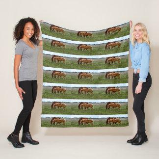 Winter Woolly Chestnut Horses, Medium Fleece Blanket