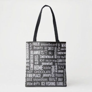 winter word cloud on black chalkboard tote bag