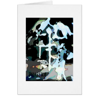 Winter Work Abstract Art Note Card white border