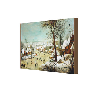 Winterlandscape with skaters and bird trap canvas print