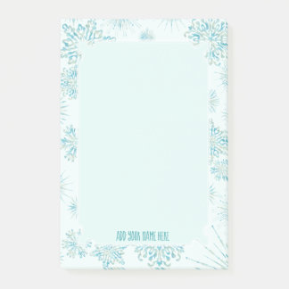 Winter's Frost   Ice Blue Snowflakes ANY Monogram Post-it Notes