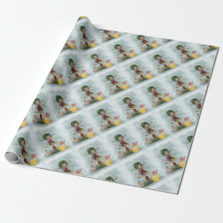 winters green wrapping paper