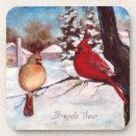 Winter's Serenity Cardinal Coasters