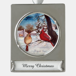 Winter's Serenity Cardinal Silver Plated Banner Ornament