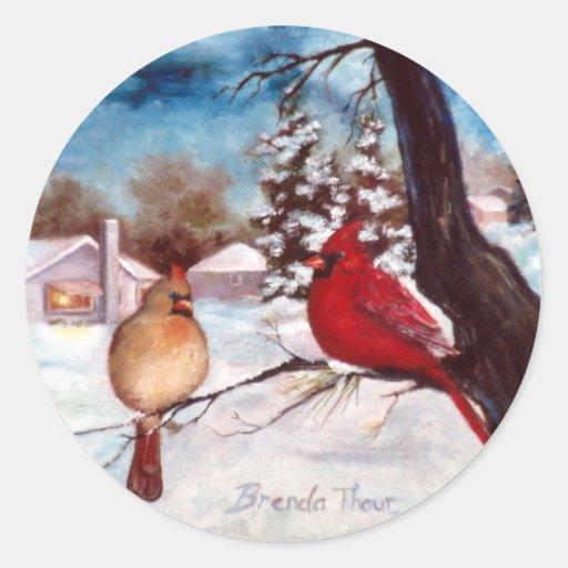 Winters Serenity Cardinal Sticker