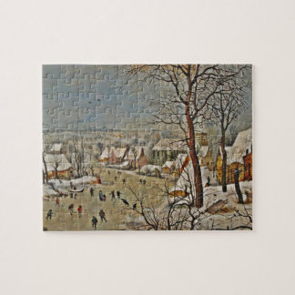 Winterscape  on a Pond with Birds Jigsaw Puzzle