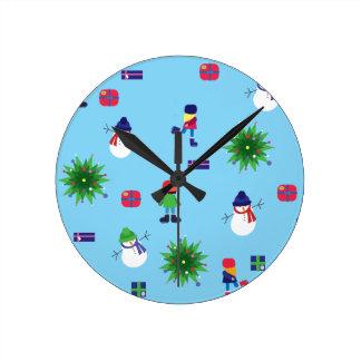 Wintertime Ice Rink Round Clock