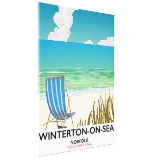 Winterton-on-Sea Norfolk Beach travel poster Canvas Print