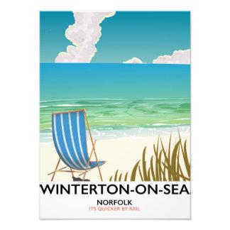 Winterton-on-Sea Norfolk Beach travel poster Photo Art