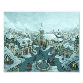 wintertown holiday art photo print