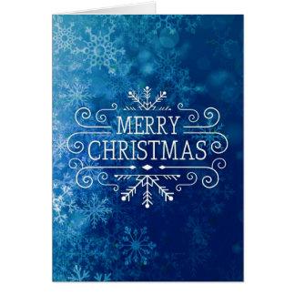 Wintery Blue Snowflakes - Merry Christmas Custom Greeting Card