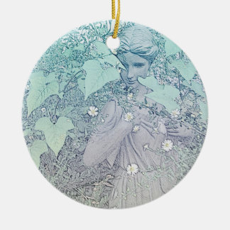 Wintery Goddess Ceramic Ornament
