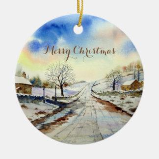 Wintery Lane Landscape Painting Round Ceramic Decoration