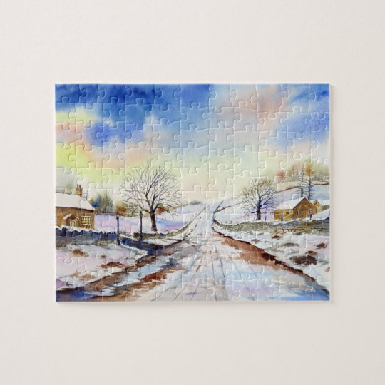 Wintery Lane Watercolor Landscape Painting Jigsaw Puzzle