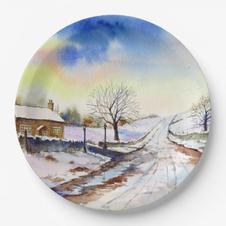 Wintery Lane Watercolor Landscape Painting Paper Plate
