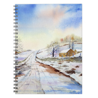 Wintery Lane Watercolor Landscape Painting Spiral Notebook