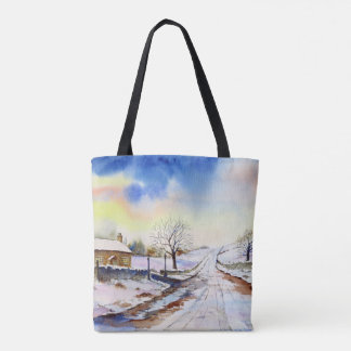 Wintery Lane Watercolor Landscape Painting Tote Bag