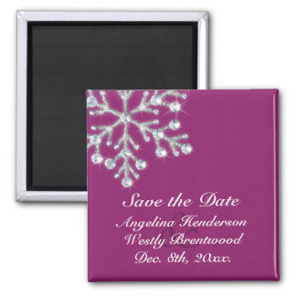 Wintery Magenta Save the Date Magnet