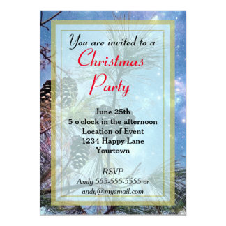 Wintery Pine cones Christmas Party 13 Cm X 18 Cm Invitation Card