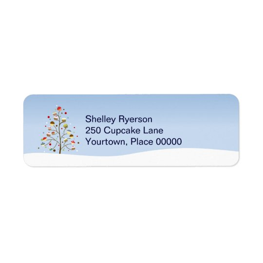 Wintery Tree of Cupcakes Return Address Return Address Label