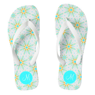wintry cool turquoise snowflakes monogrammed thongs