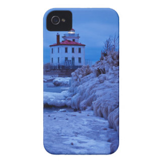 Wintry, Icy Night At Fairport Harbor Lighthouse iPhone 4 Case-Mate Cases