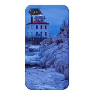 Wintry, Icy Night At Fairport Harbor Lighthouse iPhone 4 Covers