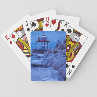 Wintry, Icy Night At Fairport Harbor Lighthouse Playing Cards