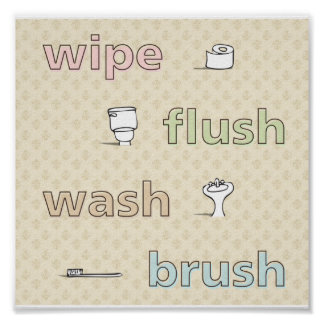 Wipe Flush Wash Brush Poster