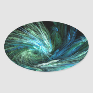 Wipe Out Abstract Digital Art Oval Stickers