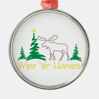 Wipe Yer Hooves! Silver-Colored Round Decoration