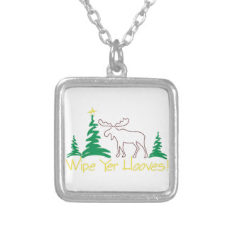 Wipe Yer Hooves! Square Pendant Necklace