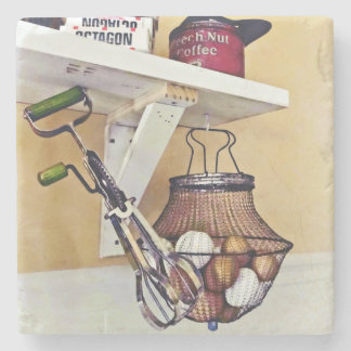 Wire Basket Of Eggs And Egg Beater Stone Coaster