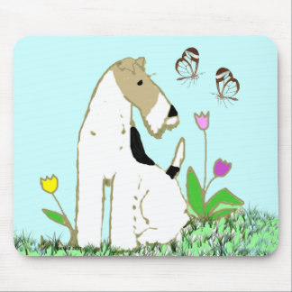 Wire Fox Terrier and Butterflies Mouse Pad