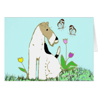 Wire Fox Terrier and Butterflies Note Card