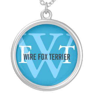 Wire Fox Terrier Breed Monogram Round Pendant Necklace
