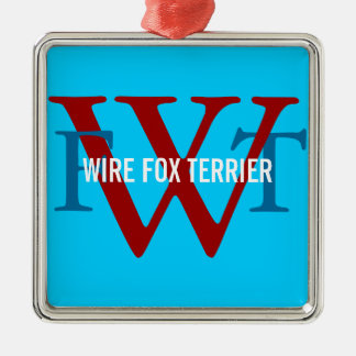Wire Fox Terrier Breed Monogram Silver-Colored Square Decoration