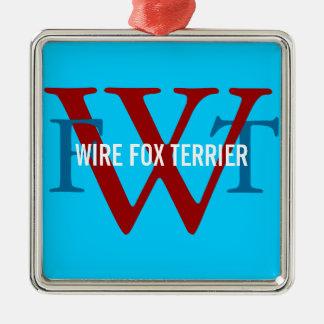 Wire Fox Terrier Breed Monogram Silver-Colored Square Decoration