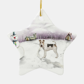 Wire Fox Terrier Christmas ornament