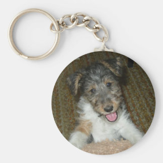 wire fox terrier cute pup basic round button key ring