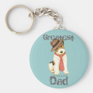 Wire Fox Terrier Dad Basic Round Button Key Ring