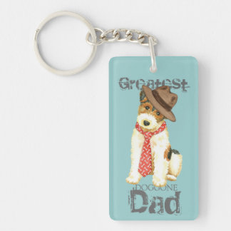 Wire Fox Terrier Dad Double-Sided Rectangular Acrylic Key Ring