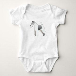Wire Fox Terrier Dog Breed Illustration Silhouette Baby Bodysuit
