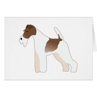 Wire Fox Terrier Dog Breed Illustration Silhouette Card