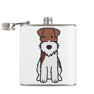 Wire Fox Terrier Dog Cartoon Hip Flask