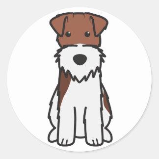 Wire Fox Terrier Dog Cartoon Round Sticker