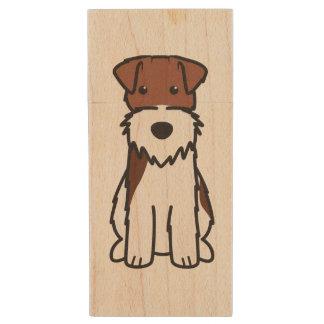 Wire Fox Terrier Dog Cartoon Wood USB 2.0 Flash Drive