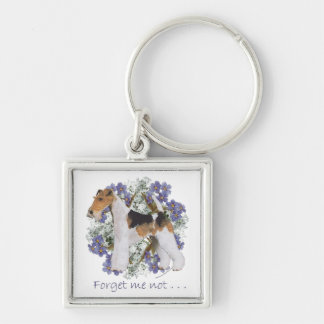 Wire Fox Terrier Forget-Me-Not Key Ring